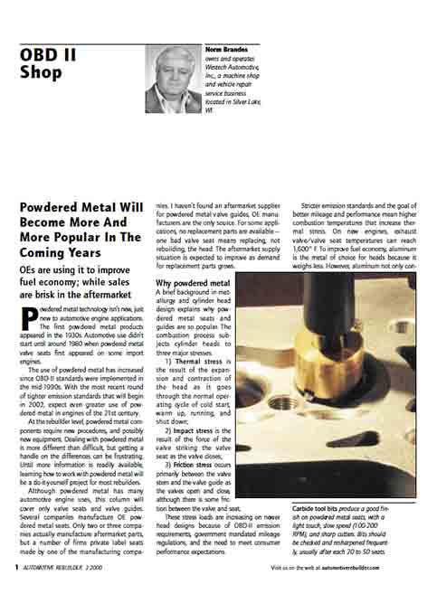 Automotive Rebuilder - Norm Brandes Powder Metal Valve Seats March 2000
