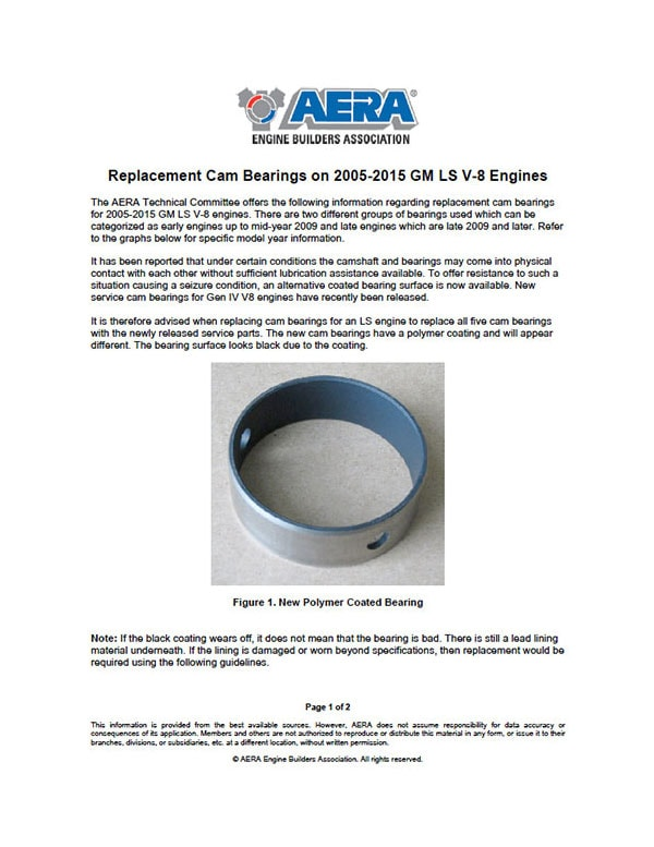 Aera Replacement Cam Bearings